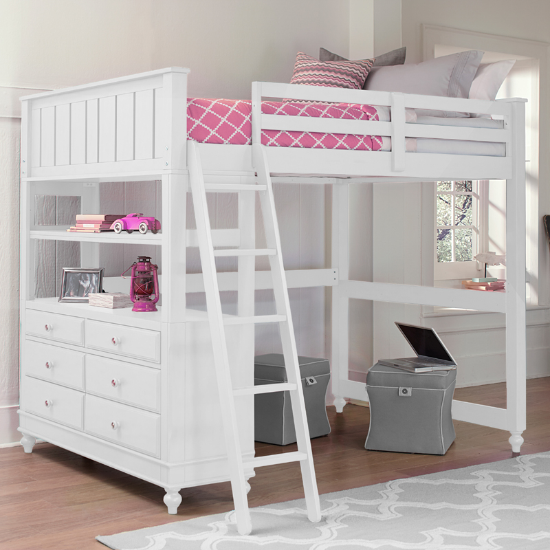 Image of: Full Size Loft Bed With Stairs Girl