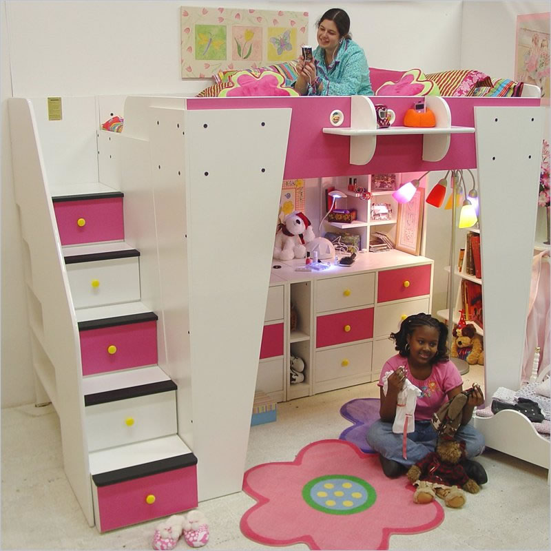Image of: Full Size Loft Bed With Stairs Kids