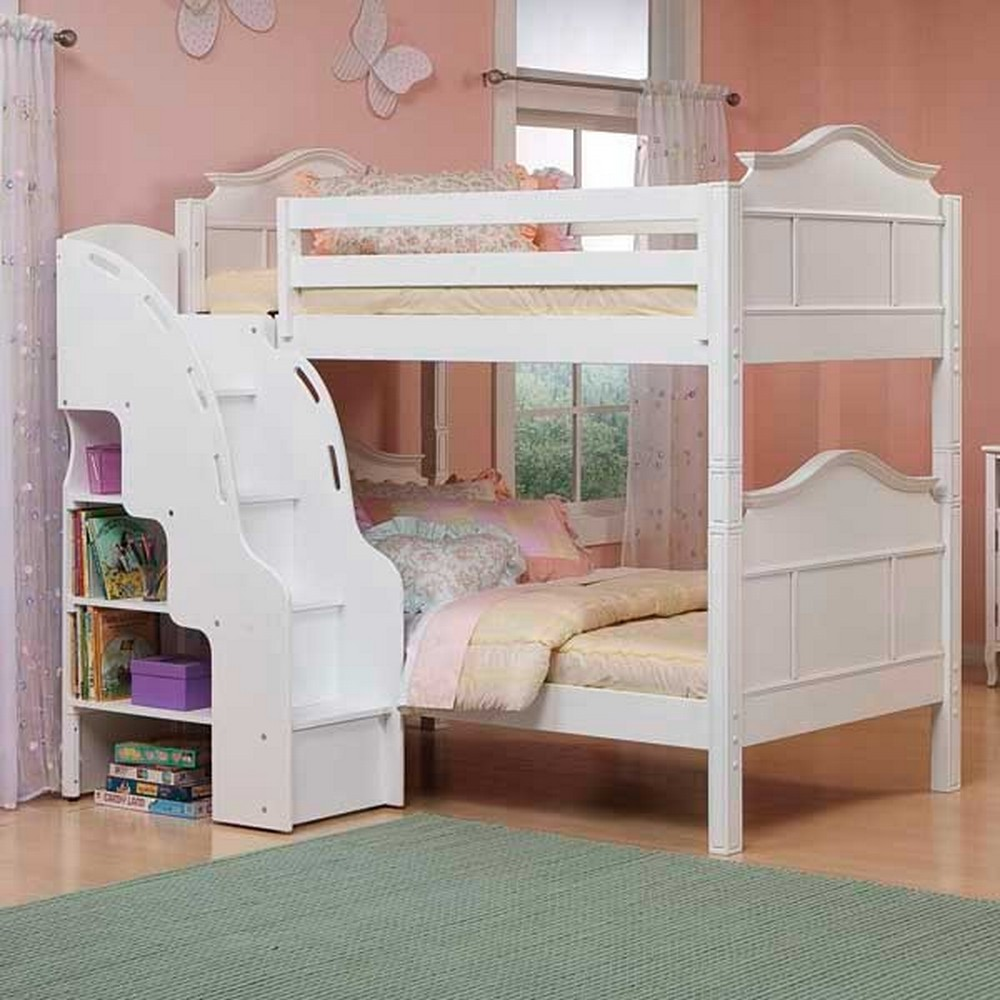 Image of: Full Size Loft Bed With Stairs White