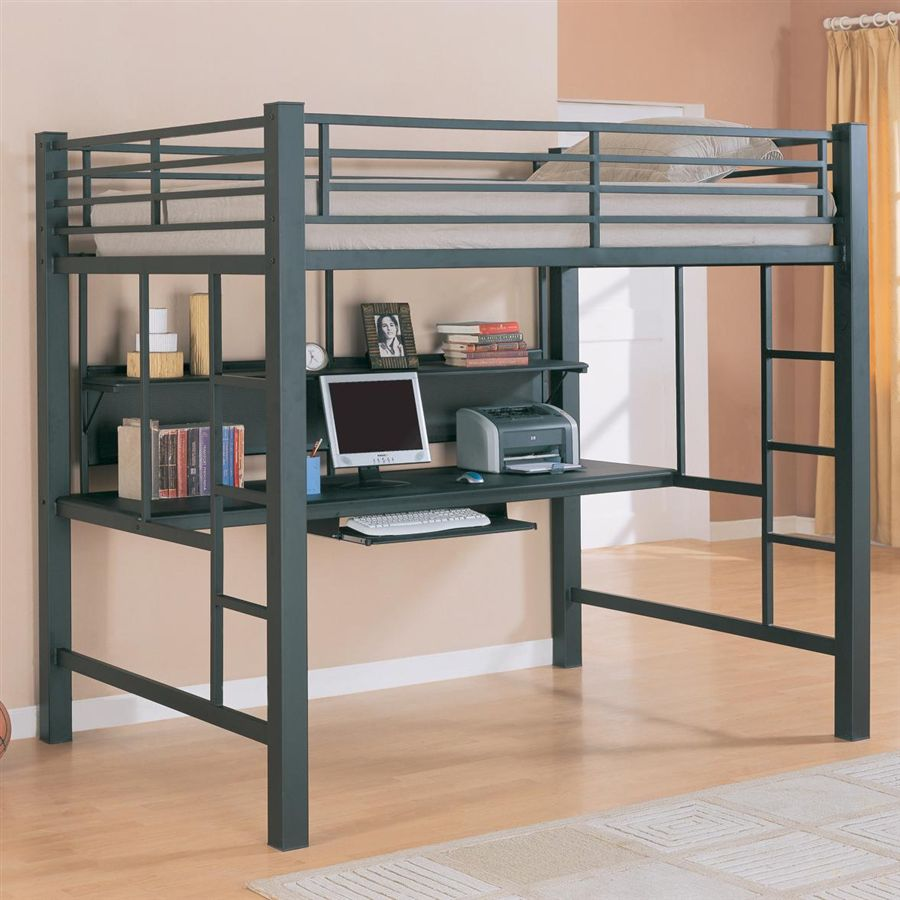 Image of: Full Size Loft Bed With Stairs With Desk