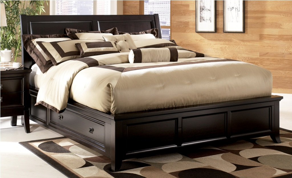 Image of: King Bed Frame With Drawers Plans