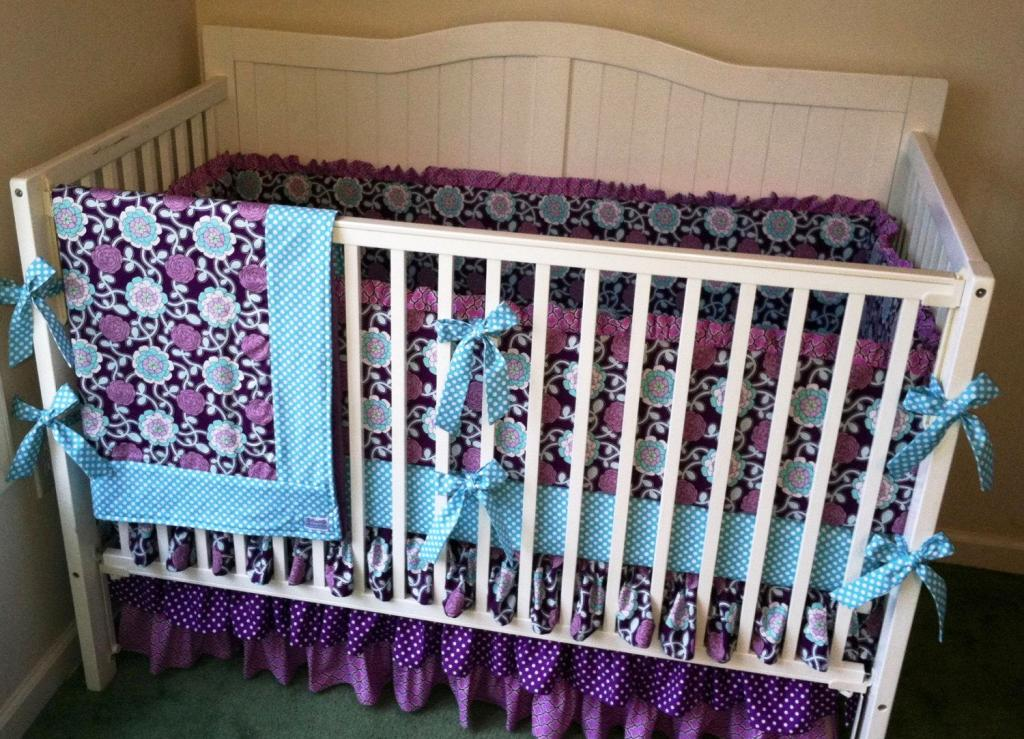 Lavender Butterfly Crib Bedding