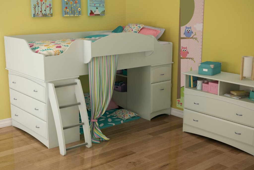 Image of: Loft Bed Twin White