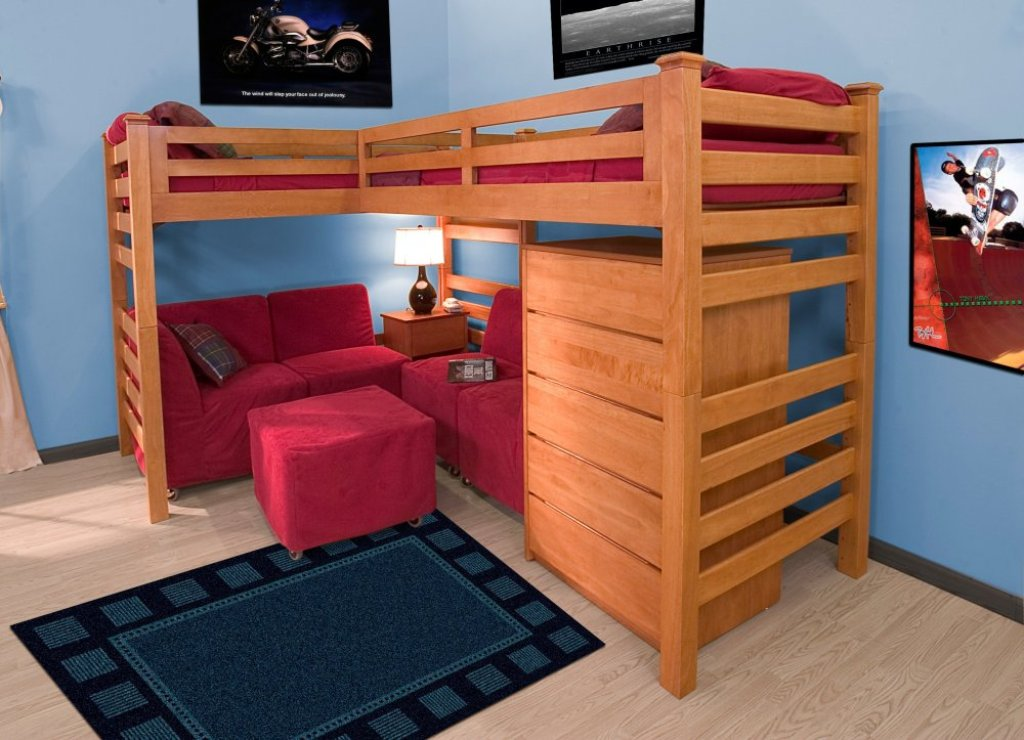 Image of: Loft Bed Twin Wood