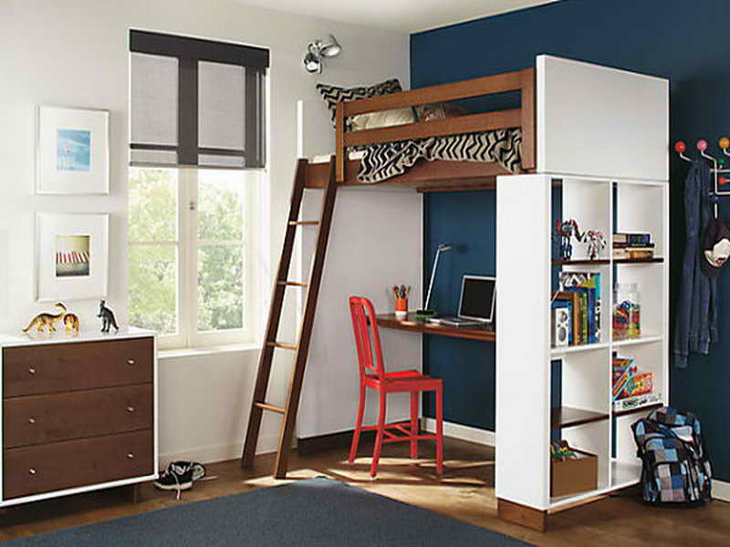 Image of: Loft Bed with Desk Underneath Plans