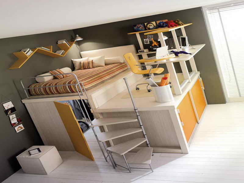Image of: Loft Bed with Desk Underneath and Dresser