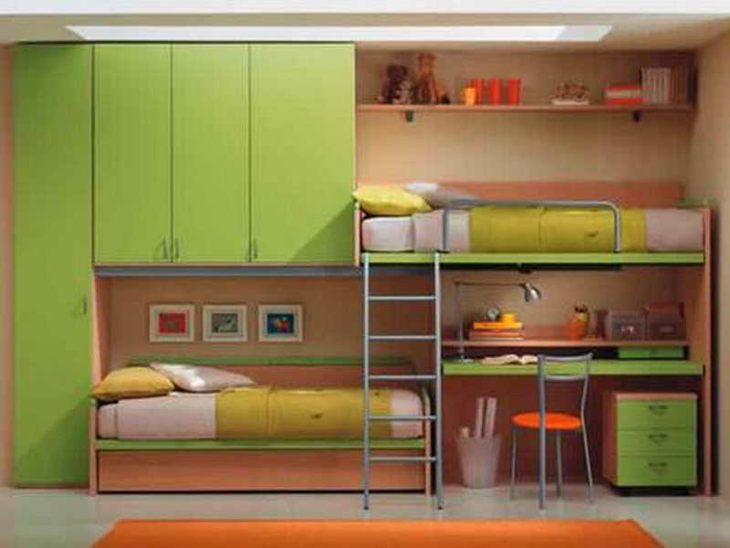 Image of: Loft Bed with Desk Underneath and Stairs