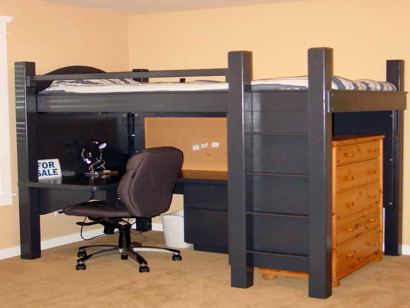 Image of: Loft Bed with Desk and Closet Underneath