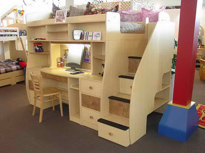 Image of: Loft Bed with Desk and Drawers Underneath