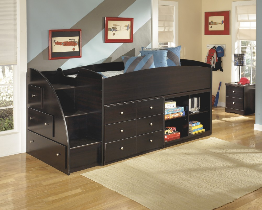 Image of: Loft Bed with Storage Staircase