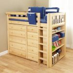 Loft Bed with Storage Wood