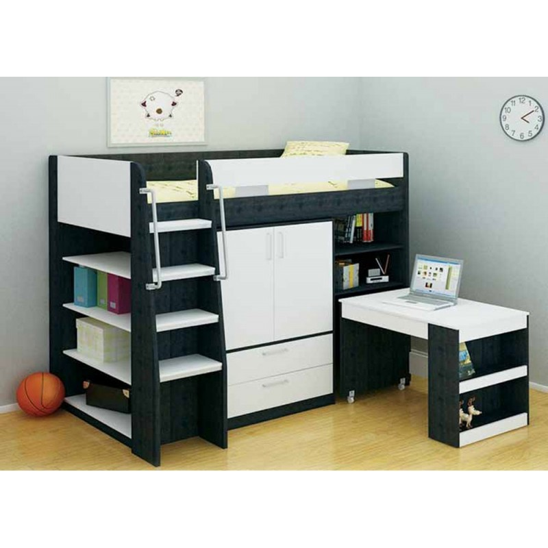 Image of: Loft Bed with Storage and Stairs