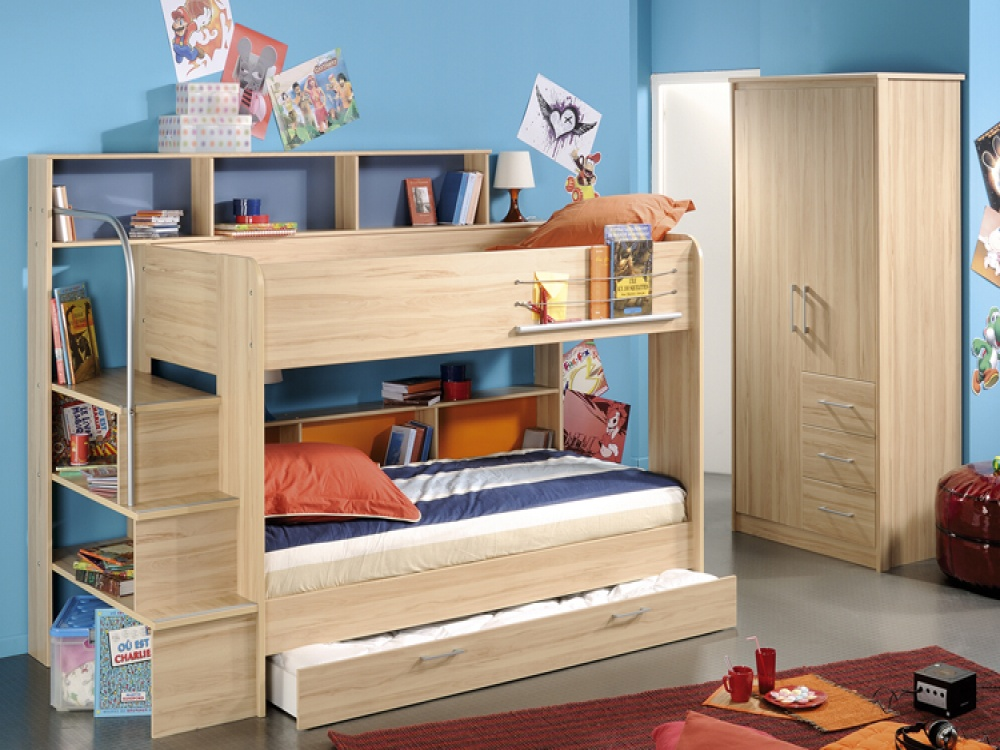 Image of: Loft Bed with Storage and Trundle