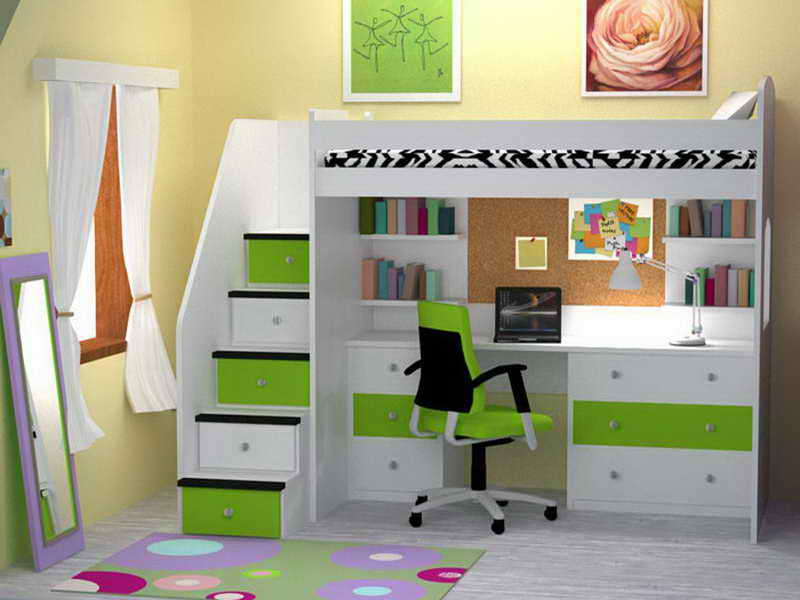 Image of: Loft Beds With Desk Green