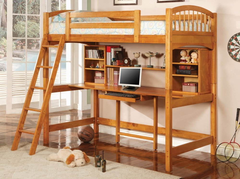 Image of: Loft Beds with Desk Underneath Wood