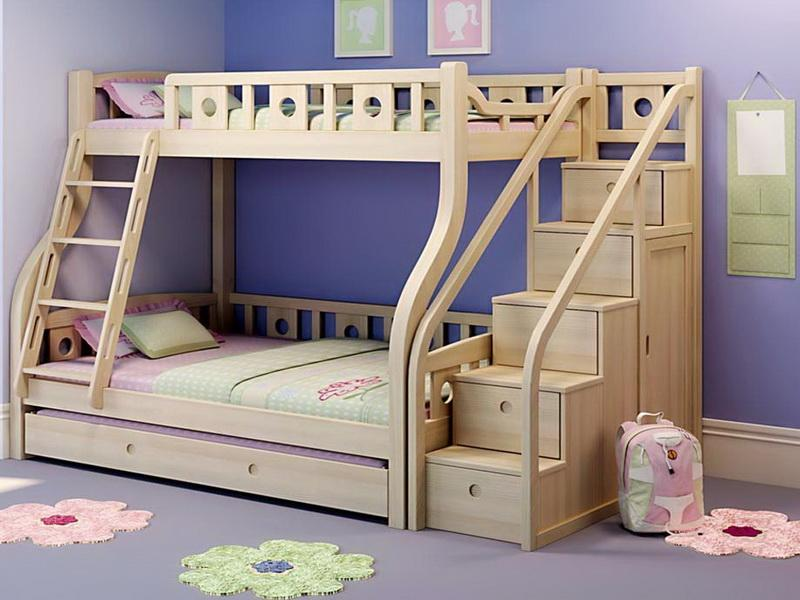 Image of: Loft Beds With Stairs Natural Wood
