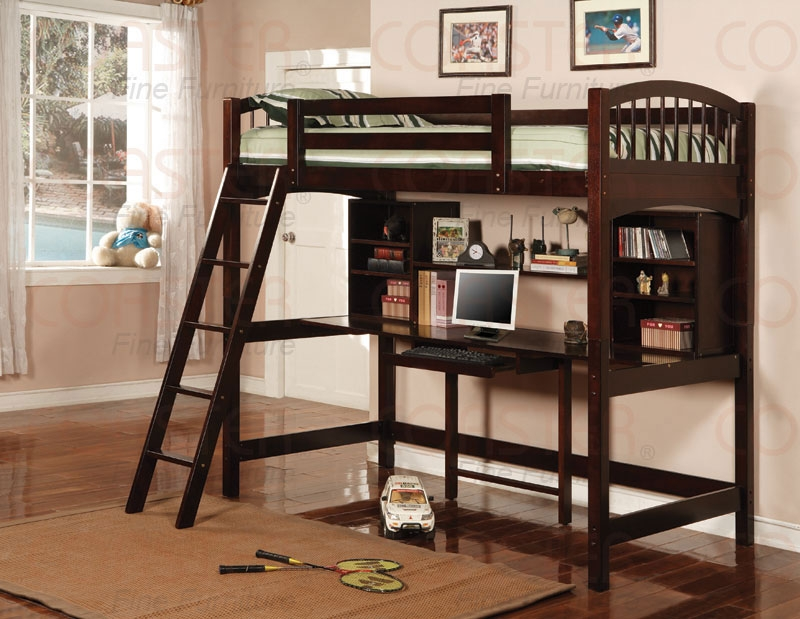 Image of: Loft Bunk Bed with Desk Brown