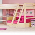 Loft Bunk Bed with Desk Pink