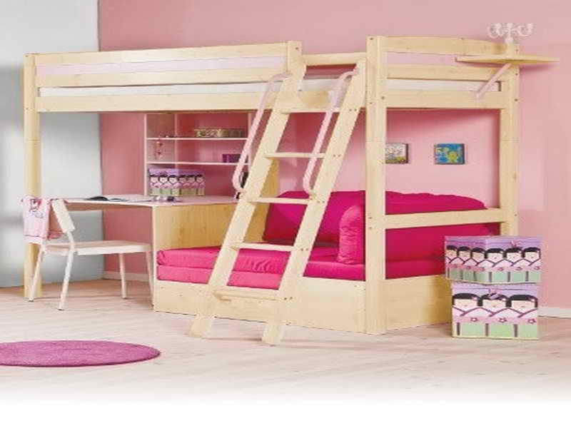 Image of: Loft Bunk Bed with Desk Pink
