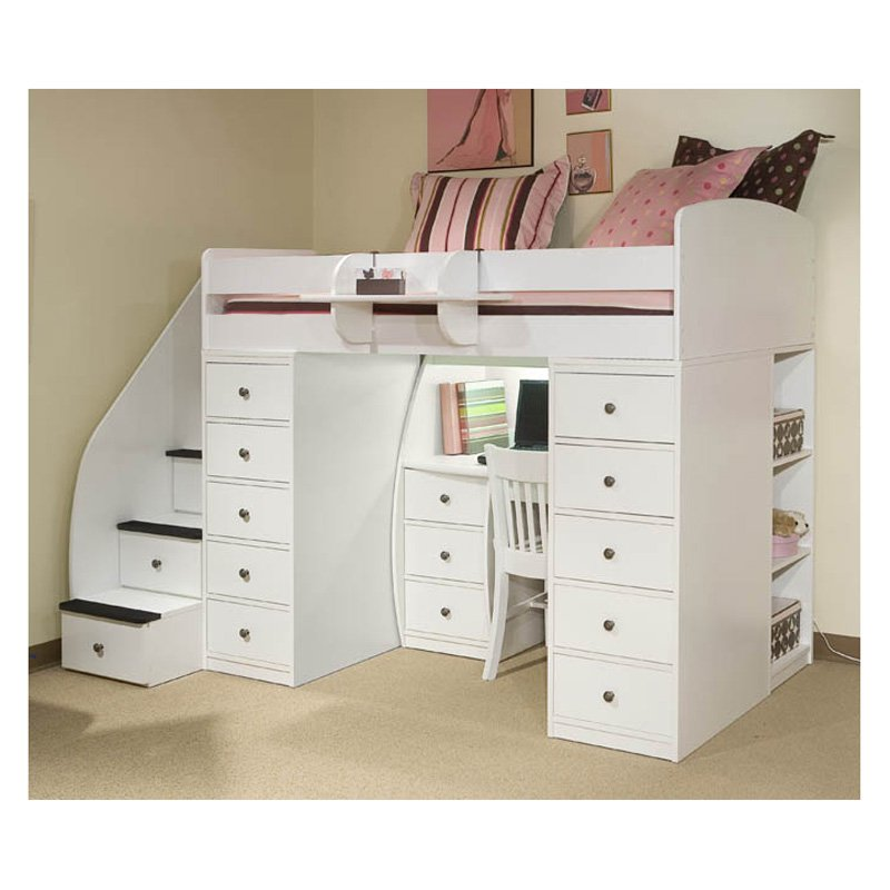 Image of: Loft Bunk Bed with Desk White