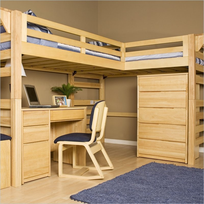 Loft Bunk Bed with Desk Wooden