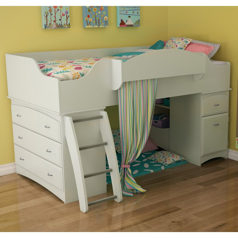 Image of: Low Loft Bed White