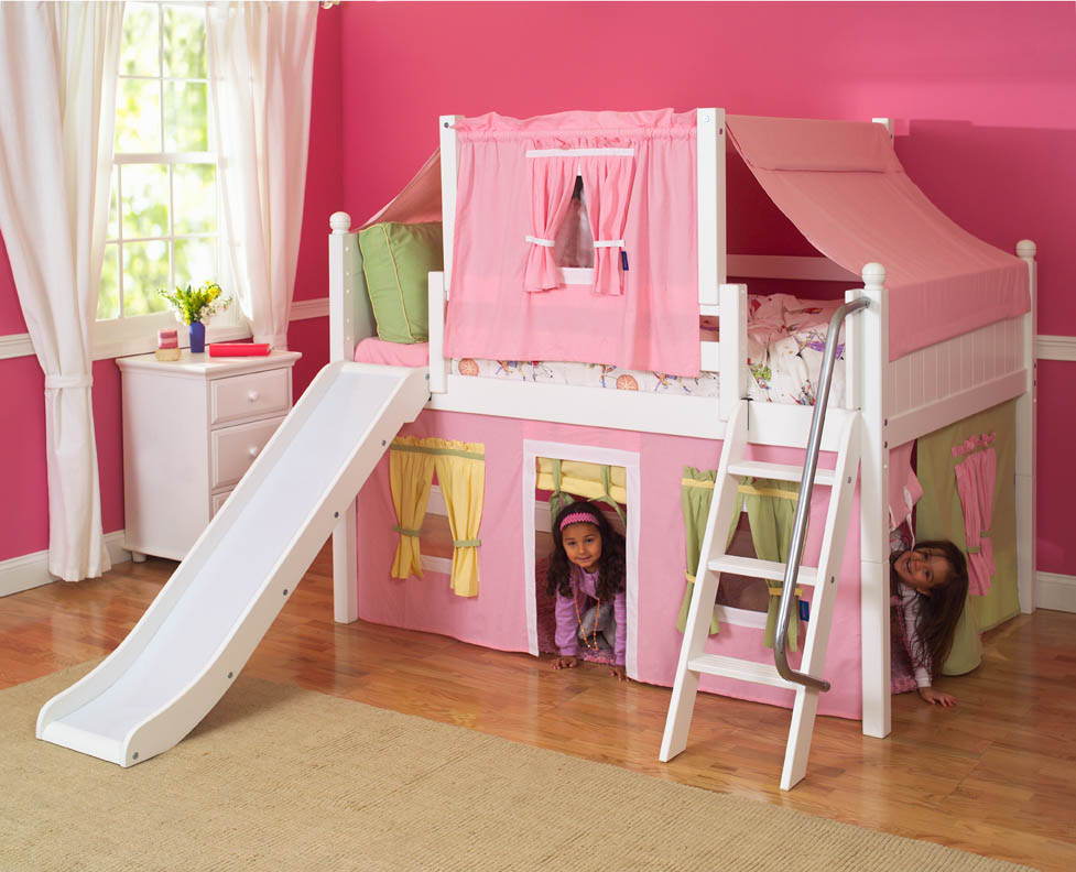Image of: Low Loft Bed with Desk and Storage