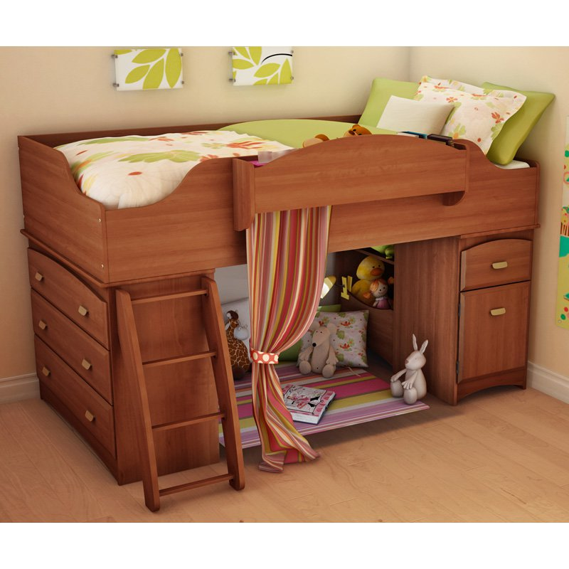 Image of: Low Loft Bed with Desk