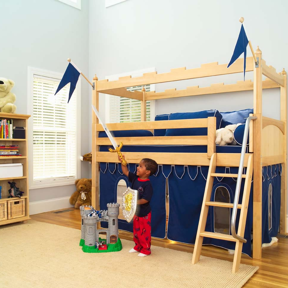 Image of: Low Loft Bed with Slide