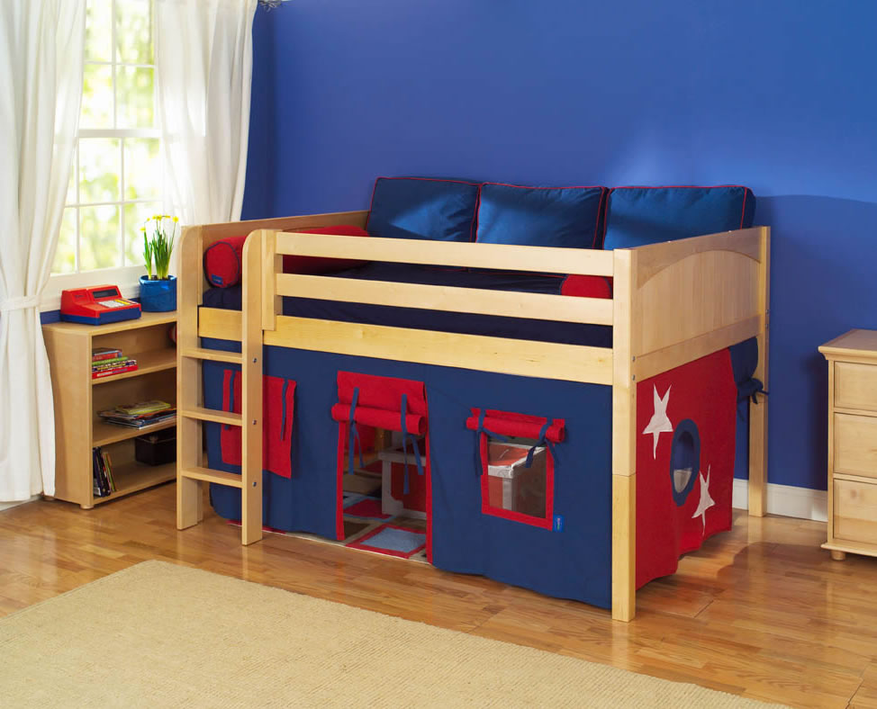 Image of: Low Loft Bed with Trundle