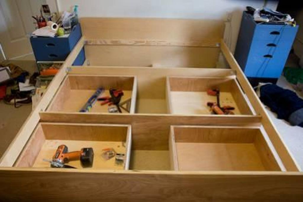 Image of: Make A Bed Frame With Drawers
