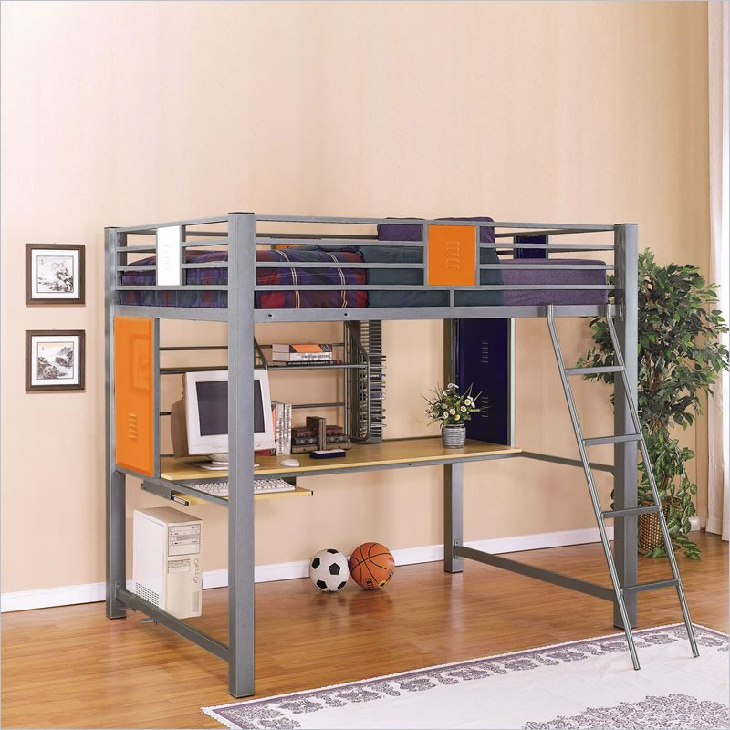 Image of: Metal Loft Bed with Desk Underneath