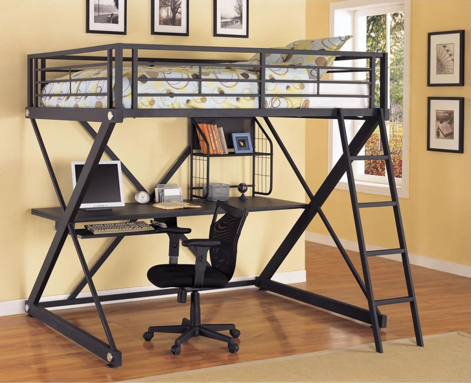 Modern Full Loft Bed With Desk
