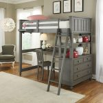 Small Full Loft Bed with Desk