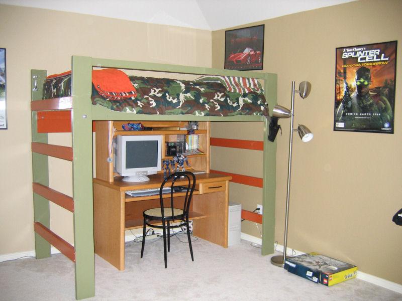 Image of: Teen Loft Bed Boys Army