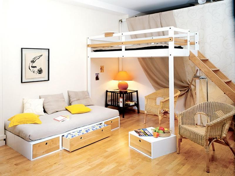 Image of: Teen Loft Bed Small Room