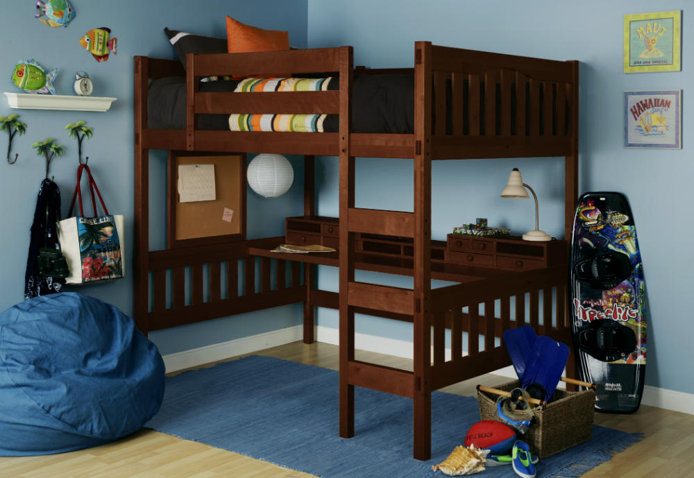 Image of: Traditional Full Loft Bed with Desk