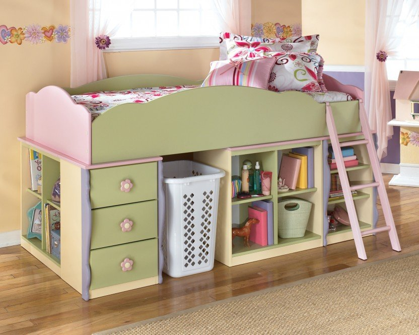 Image of: Twin Loft Bed with Shelves