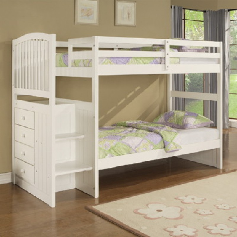 Image of: Twin Loft Bed with Storage White
