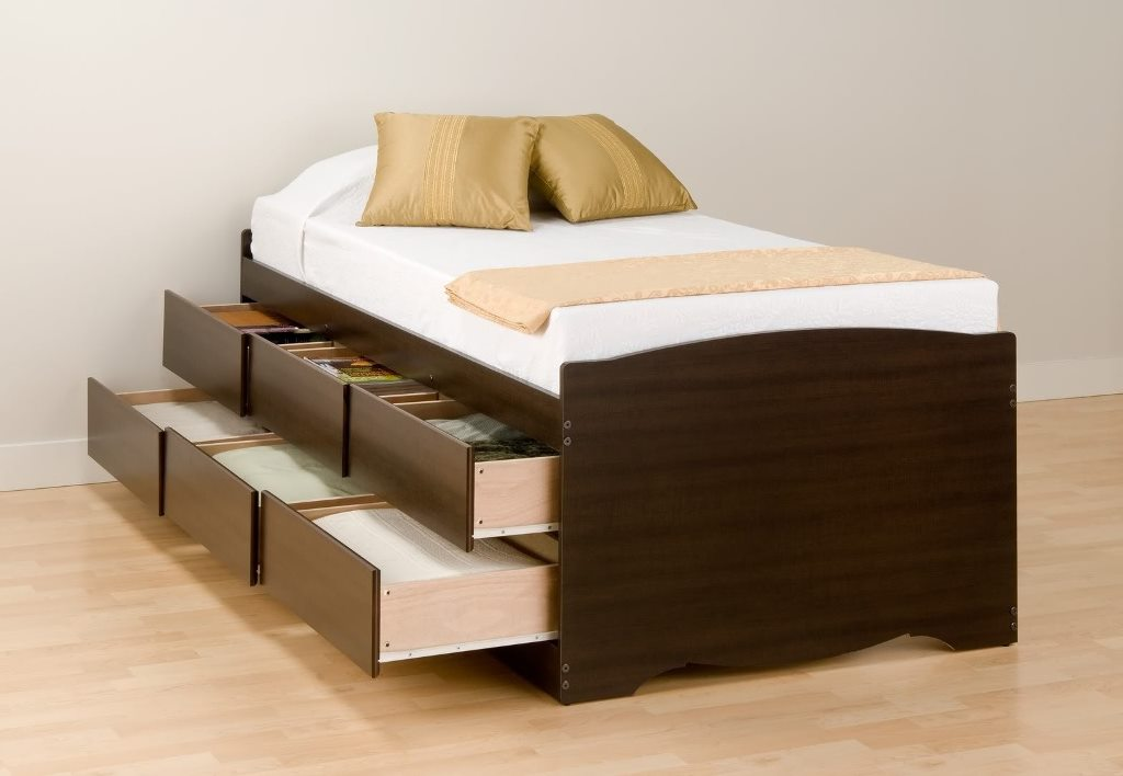 Image of: Twin Platform Beds with Drawers