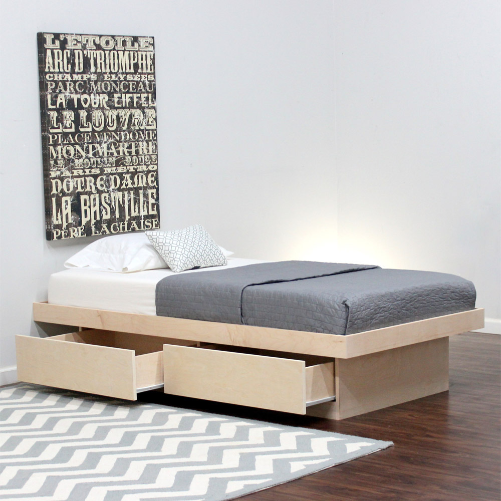 Image of: Twin XL Platform Bed Storage