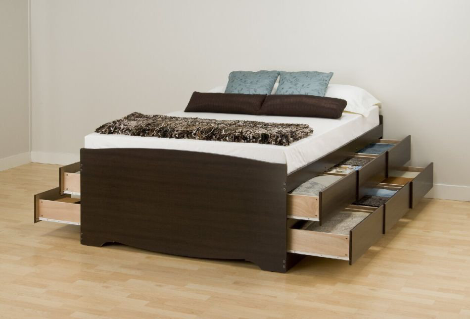Image of: Twin Bed Frame With Drawers
