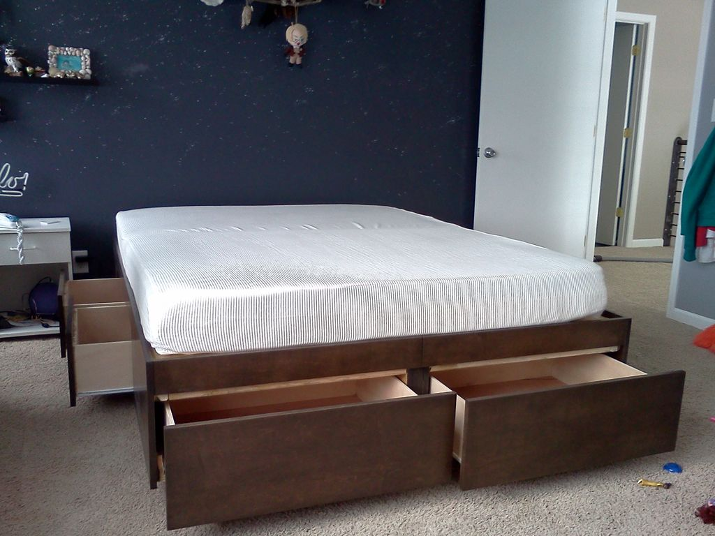 Image of: Twin Bed Frame With Drawers With Four Drawers