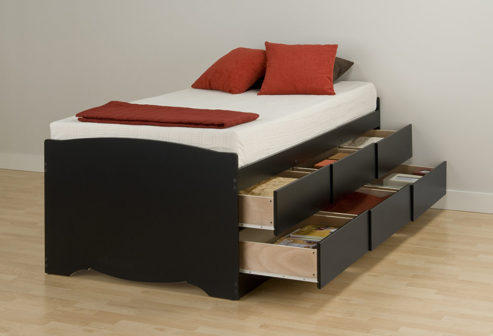 Twin Bed Frame With Drawers With Six Drawers