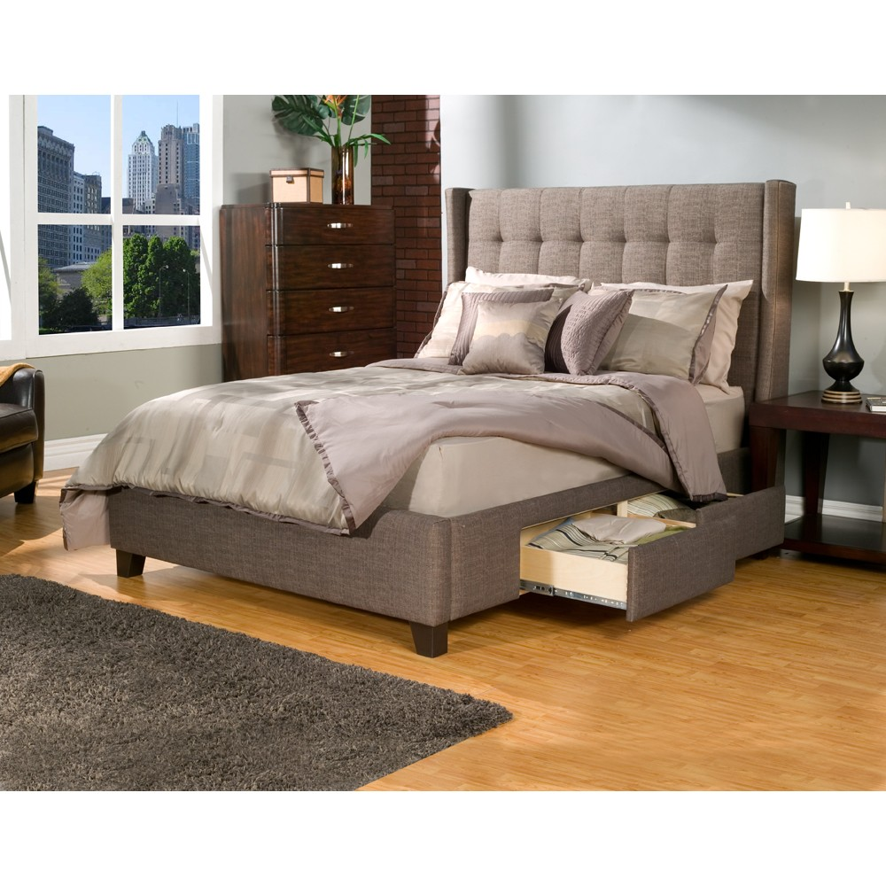 Image of: Upholstered Beds King Drawers