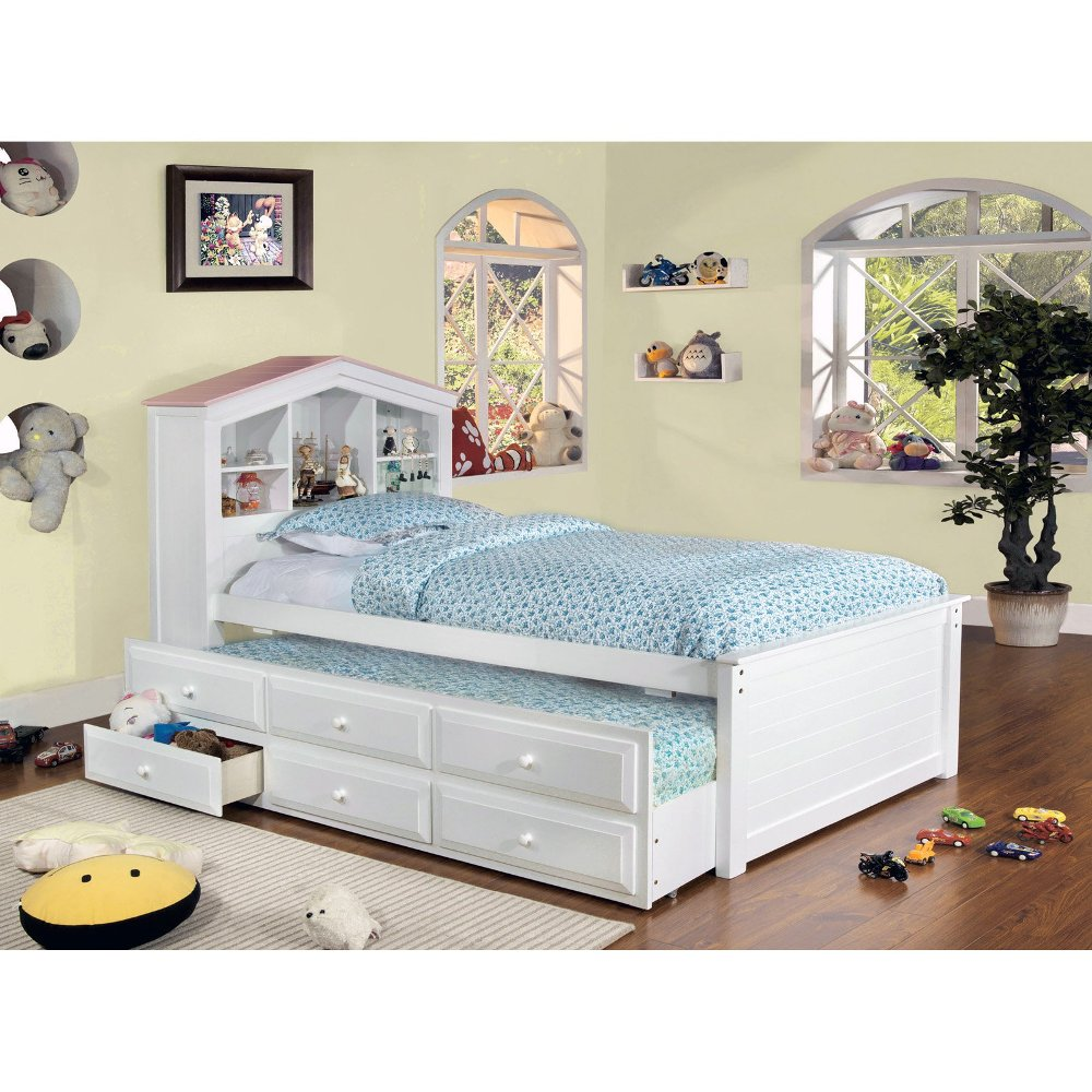 Image of: White Twin Beds With Drawers