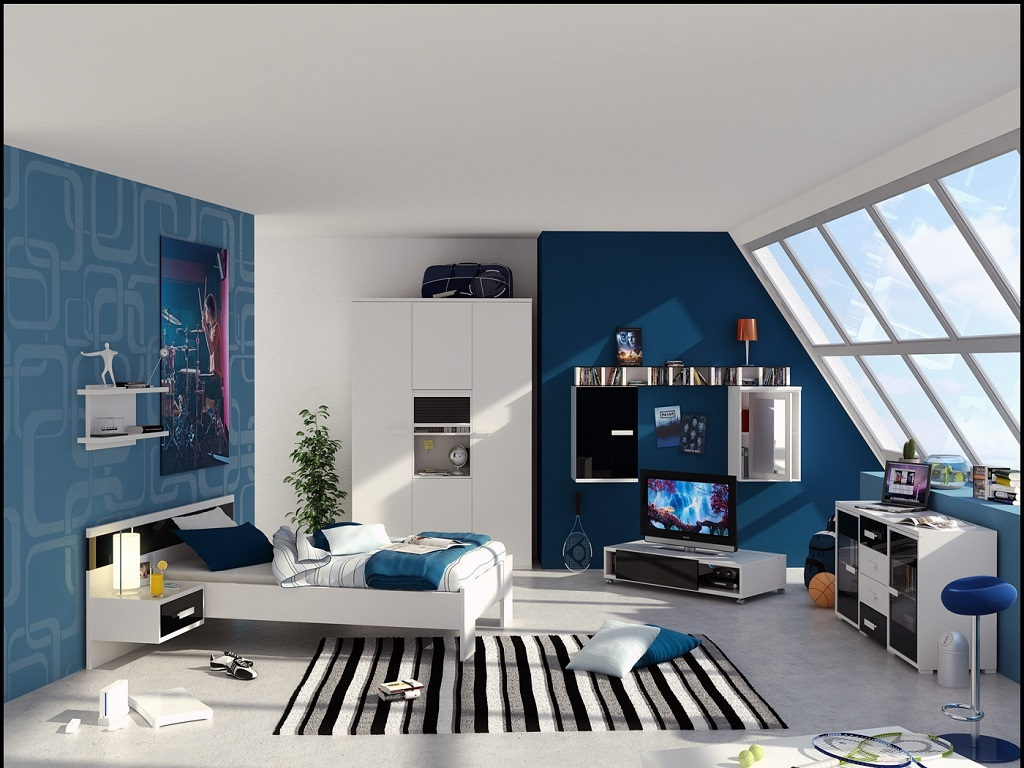Image of: Blue Black And White Bedroom Ideas