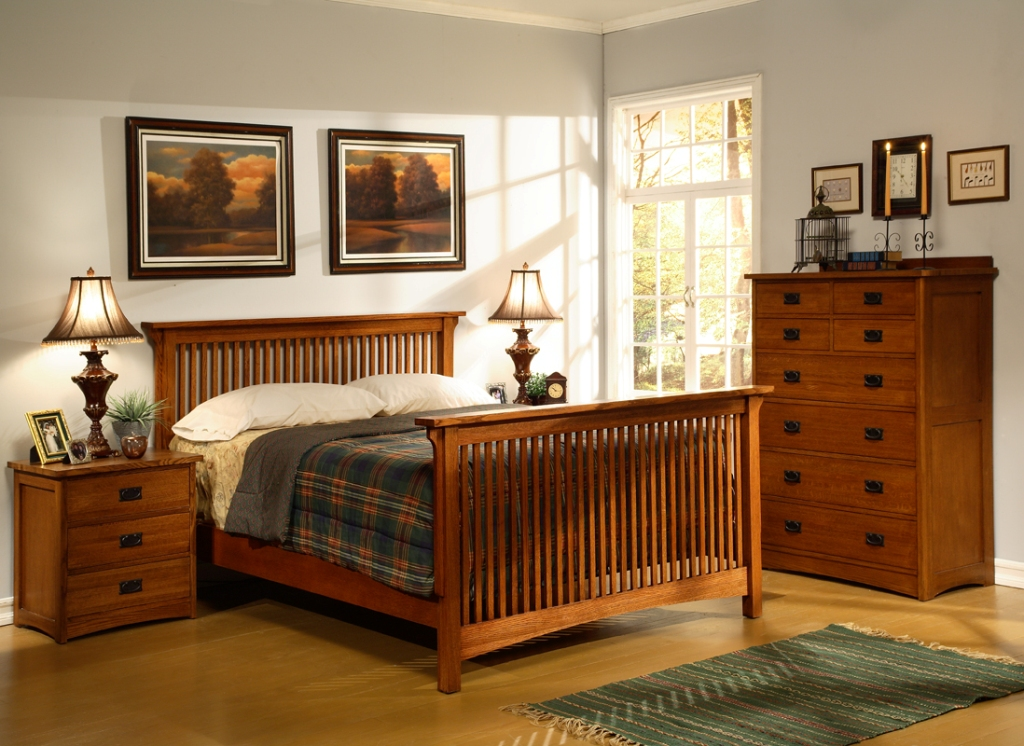Image of: Mission Bedroom Furniture Oak