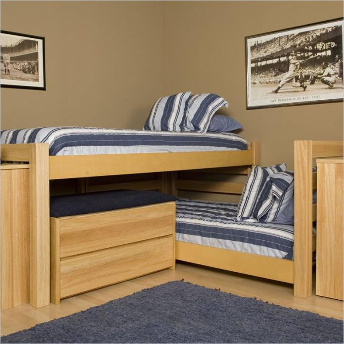 Image of: L Shaped Bunk Beds Twin Over Queen