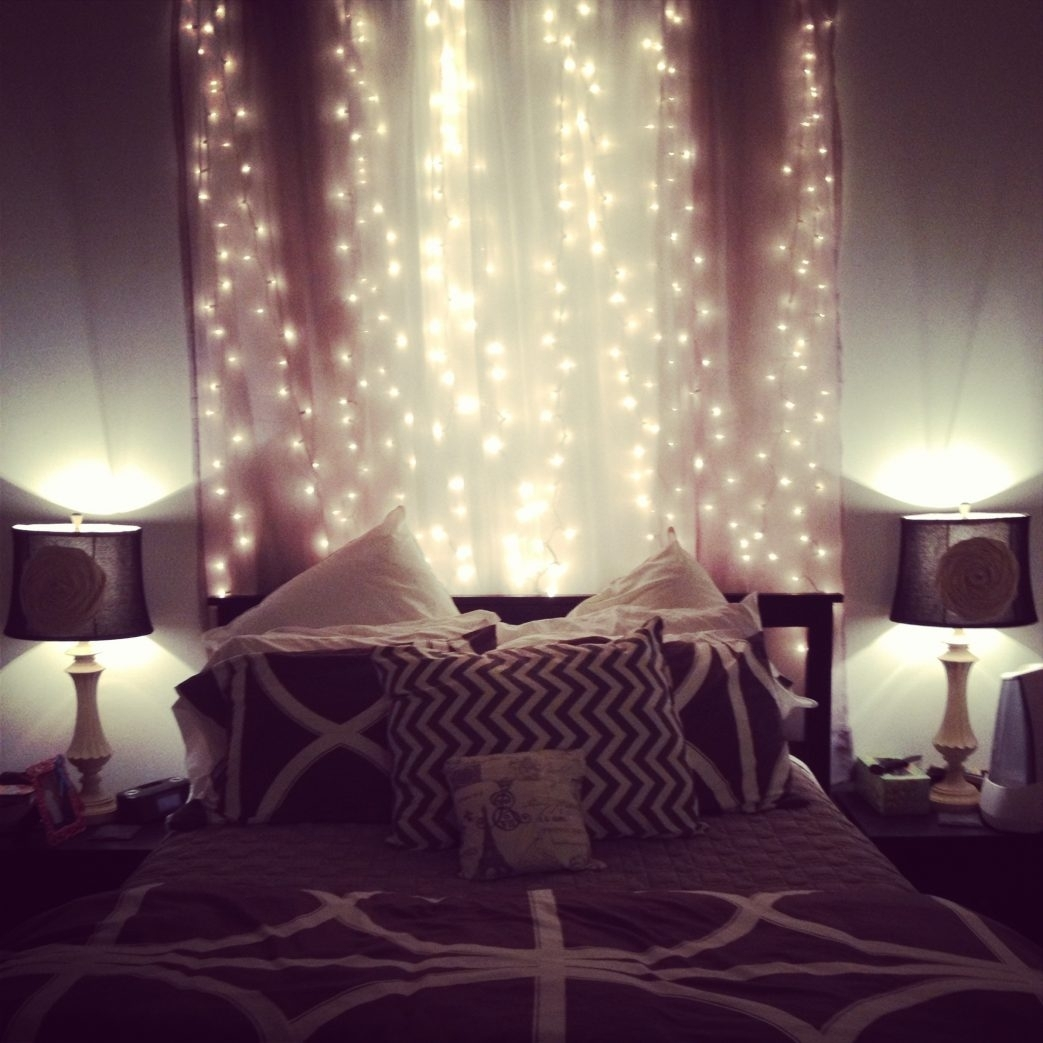 Image of: Bedroom Shining String Lights For Design How To Hang Astonishing